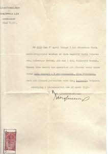Ryd, Dalen, Eira Peterssons intyg att idka handel 1939