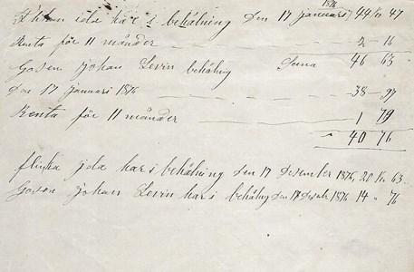 Mastenstorp förmyndarredovisning 1876