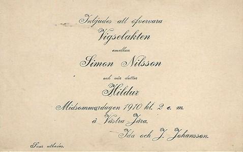Västra Jära, inbjudan till vigsel 1910