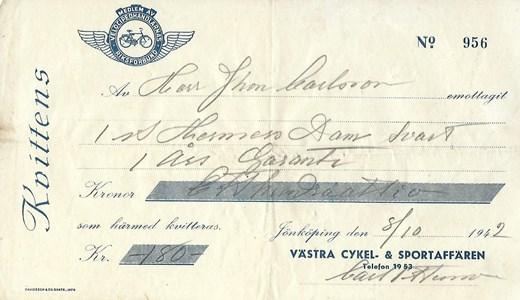 Inköp av cykel 1942 för 180 kronor