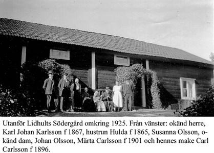 Lidhults Södergård. Husfolk och gäster.