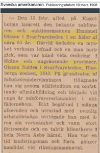 Emanuel Olssons död 1908 i Svarvareboden, ur Svenska amerikanaren