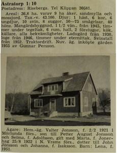 Åstratorp 1:10, Karl Pers, från Skånsk bebyggelse 1959
