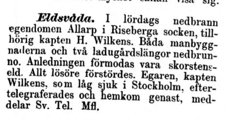 Eldsvåda 1893 i Allarp, Riseberga socken