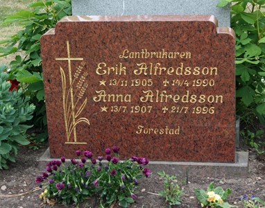 Gravsten Riseberga Erik Alfredsson, Forestad