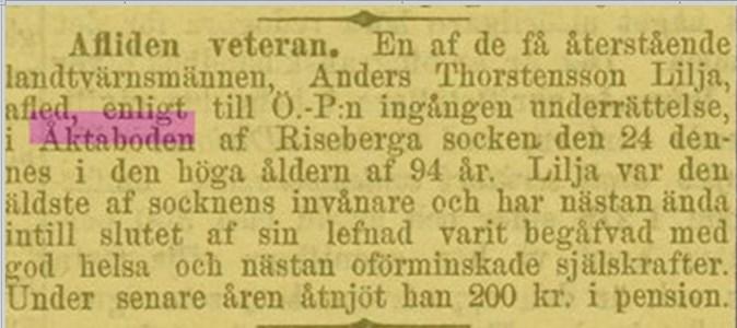 Anders Torstensson Lilja i Äktaboden 1882