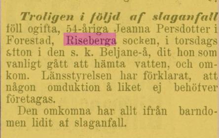 Jeanna Persdotters död i Forestad 1895