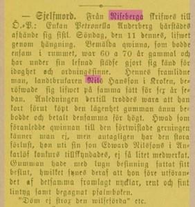 Petronella Anderbergs död 1883 i Riseberga