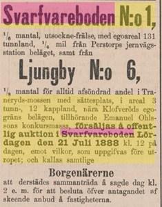 Ur Kristianstadsbladet 14 juli 1888, konkurs Svarvareboden