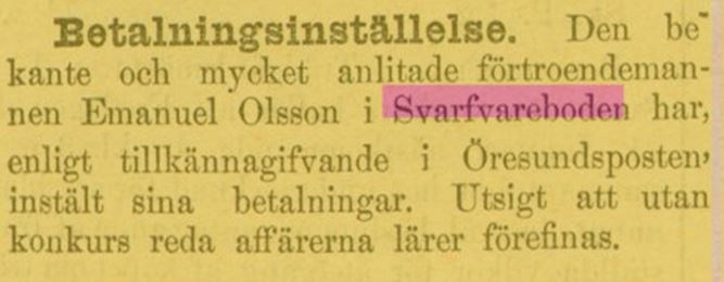 Ur Kristianstadsbladet 31 dec 1886, konkursrisk Svarvareboden