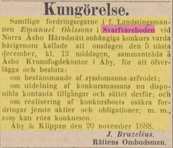 Ur Post o Inrikes Tidningar 23 nov 1888, konkurs Svarvareboden