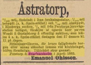 Ur Sydsvenskan 9 april 1883, försäljn. Spele-Stället i Åstratorp