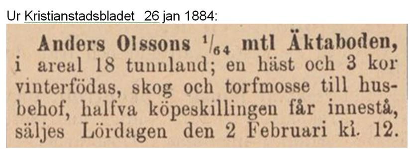Anders Olssons försäljning av Äktaboden 1884