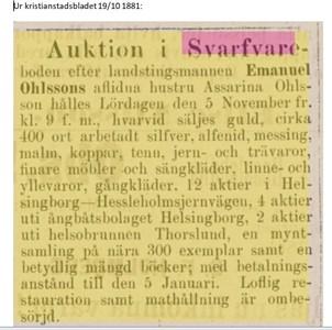 Auktion 1881 efter Assarina Ohlsson i Svarvareboden