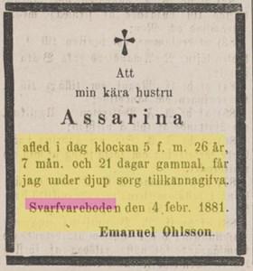 Dödsannons Assarina Andersdotter i Svarvareboden, ur Kristianstadsbladet 7 febr 1881