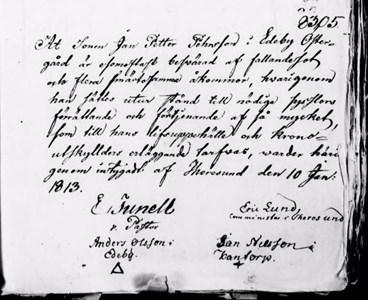 Inlaga till mantalsskrivning 1813.
