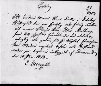 Inlaga till mantalsskrivning år 1813