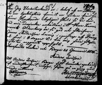 Anders Larsson på Berga - inlaga till tinget år 1817