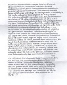 Kvicksta - förläningsbrev år 1647