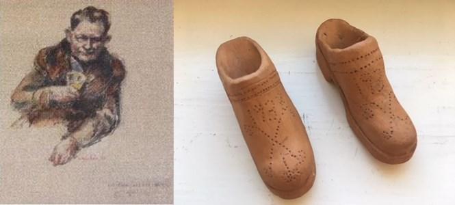 """Tegelbrännare Hilmer Kumlin och hans """"träskor"""" i keramik."""
