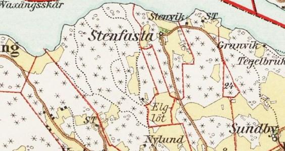 Älglöth (Elglöt) på karta från 1897