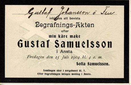 Inbjudan till begravningsakt för Gustaf Samuelsson i Ansta