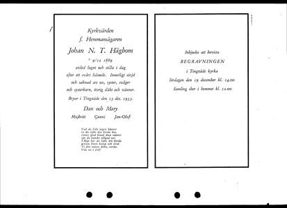 Johan Hägbom Begravningsinbjudan