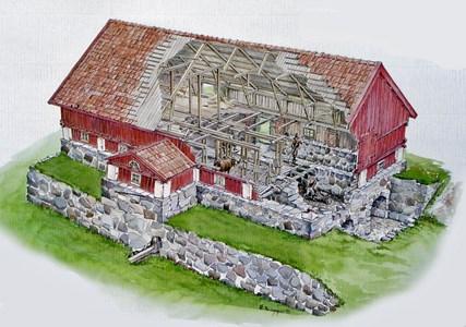 Nyby gamla ladugård - skiss