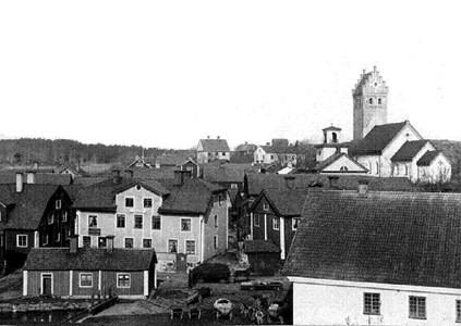 Vy från Husberget över Kvarnbacken,  före 1879