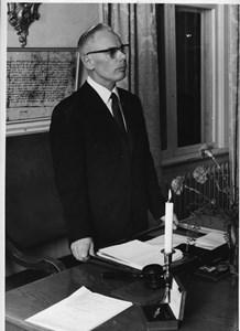Birger Ludvigsson vid Torshälla stadsfullmäktiges sista möte 1970
