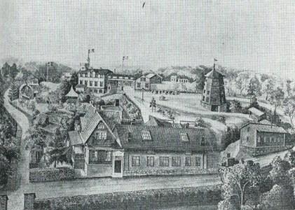 Georg Nyströms målning av Nyströms bleckkärlsfabrik på Klockberget