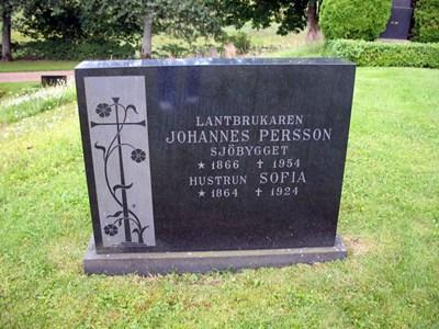 Gravsten Västra Torup Johannes o Sofia Persson i Sjöbygget