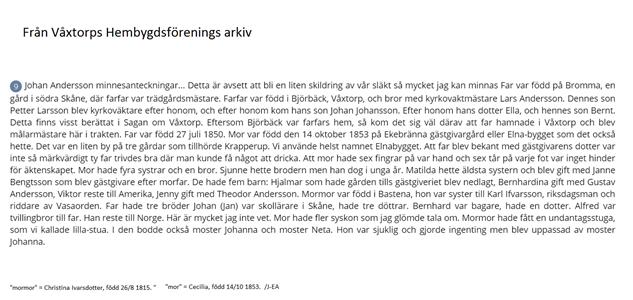 Johan Andersson berättar