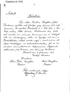 Köpebrev år 1918